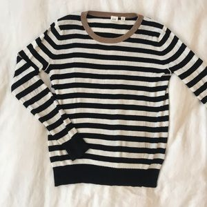 GAP Striped Ribbed Gold Collar Sweater